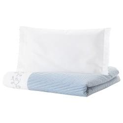 IKEA GULSPARV Пододеяльник, наволочка д/кроватки, в полоску, синий, 110x125/35x55 см 104.270.64-5
